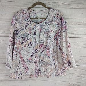 Chico's linen zip Blazer jacket 3 XL 16